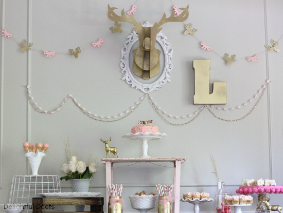 deer party - Gold, White, & Pink Deer Birthday Party by Utah lifestyle blogger By Jen Rose