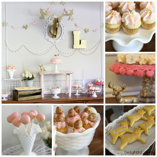 dessert table - Gold, White, & Pink Deer Birthday Party by Utah lifestyle blogger By Jen Rose