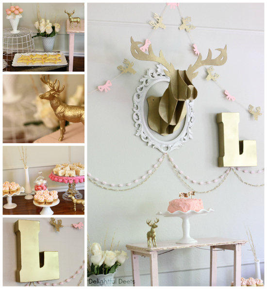 gold deer garland - Gold, White, & Pink Deer Birthday Party by Utah lifestyle blogger By Jen Rose
