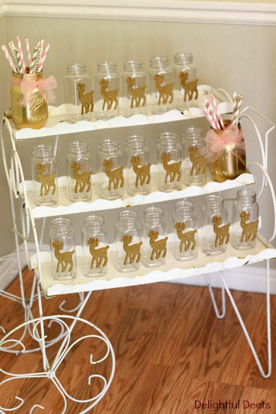 gold jars and straws - Gold, White, & Pink Deer Birthday Party by Utah lifestyle blogger By Jen Rose