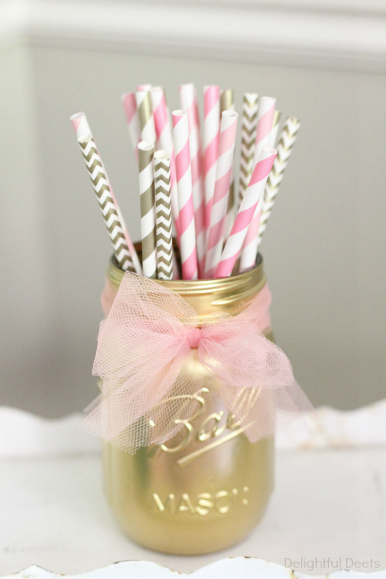 gold mason jar - Gold, White, & Pink Deer Birthday Party by Utah lifestyle blogger By Jen Rose