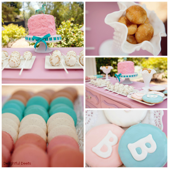 gold pink and aqua dessert table