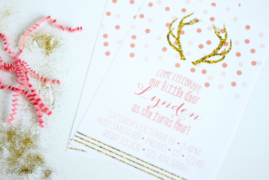invite - Gold, White, & Pink Deer Birthday Party by Utah lifestyle blogger By Jen Rose