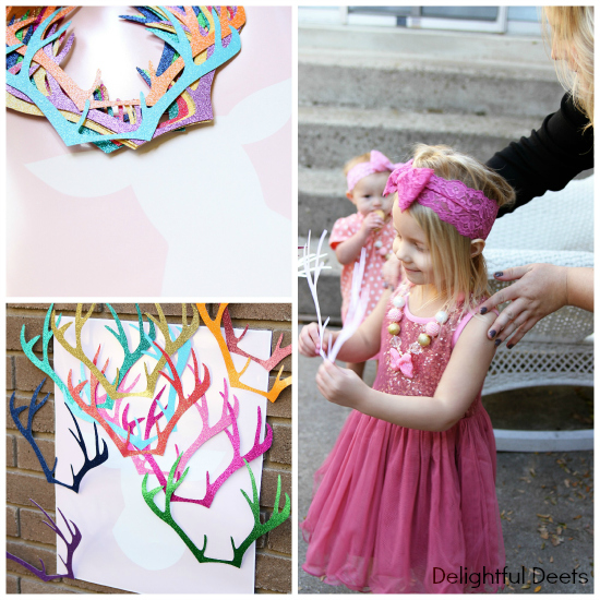 pin the antlers on the deer - Gold, White, & Pink Deer Birthday Party by Utah lifestyle blogger By Jen Rose