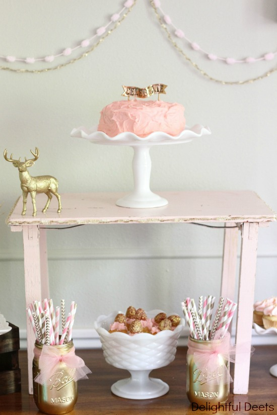 pink and gold deer party - Gold, White, & Pink Deer Birthday Party by Utah lifestyle blogger By Jen Rose