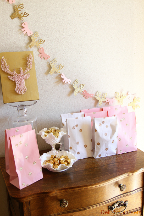 white gold and pink favor table - Gold, White, & Pink Deer Birthday Party by Utah lifestyle blogger By Jen Rose