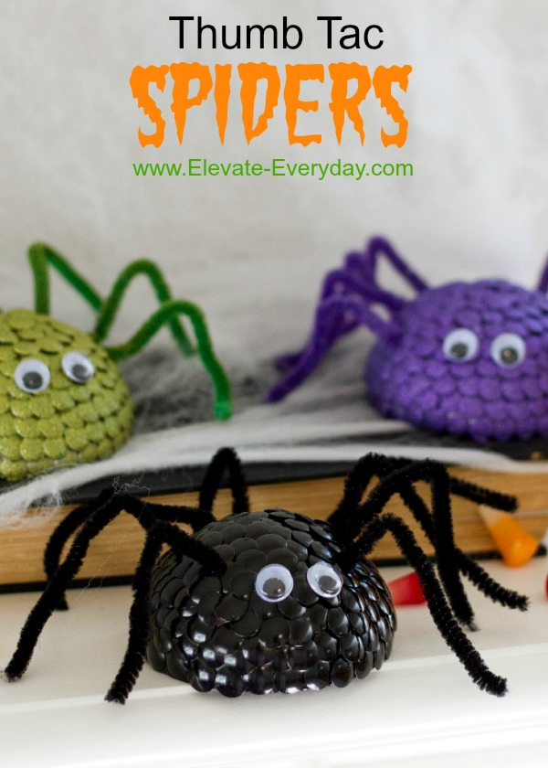 Thumb Tac halloween spiders