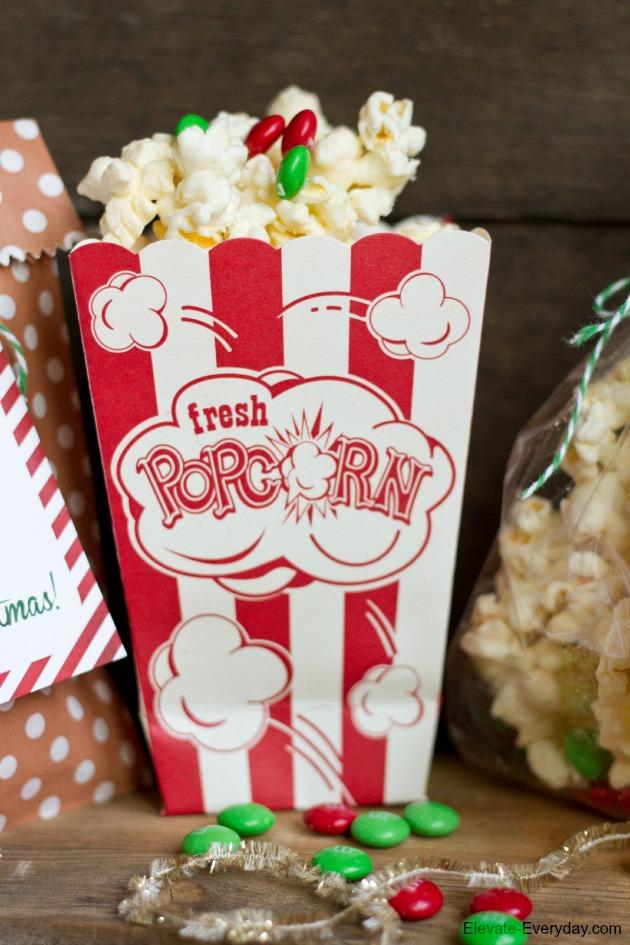 white chocolate popcorn with Christmas m&ms