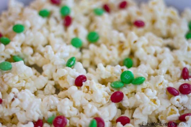 white chocolate popcorn with m&ms