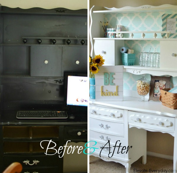 before and after hutch makeover - Vintage Hutch Makeover by Utah lifestyle blogger By Jen Rose