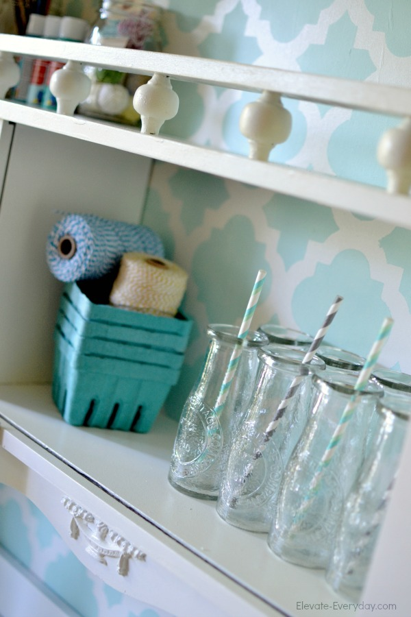 furniture redo white and aqua - Vintage Hutch Makeover by Utah lifestyle blogger By Jen Rose