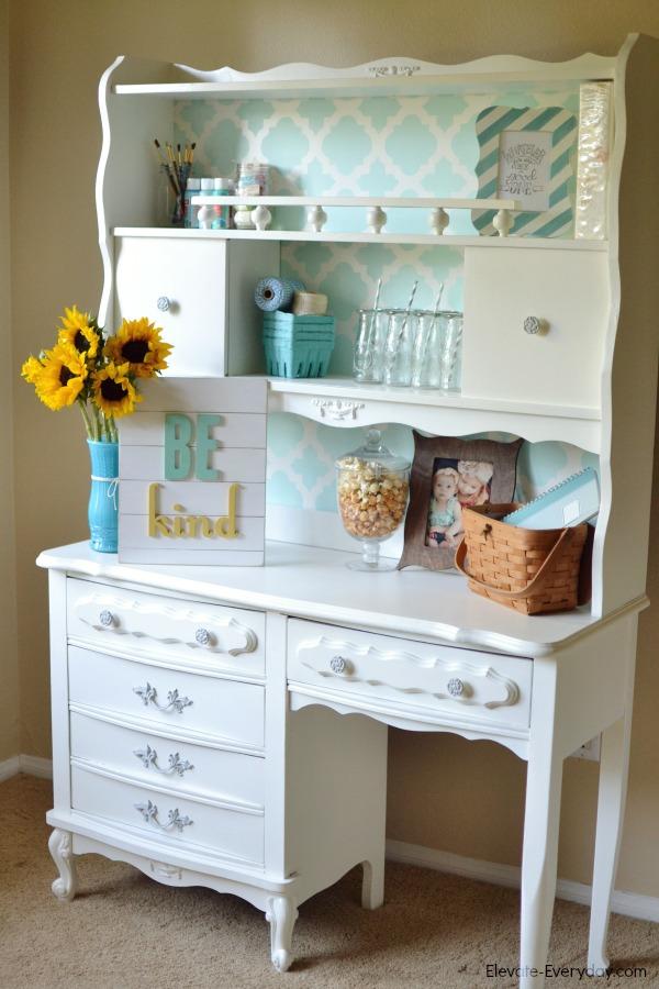 vintage desk hutch redo - Vintage Hutch Makeover by Utah lifestyle blogger By Jen Rose