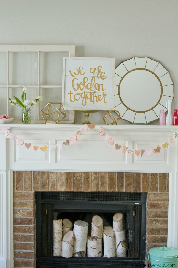 diy mantle ideas - Valentine's Day Mantle with Salty Bison & Aidie's Hideaway by Utah lifestyle blogger By Jen Rose