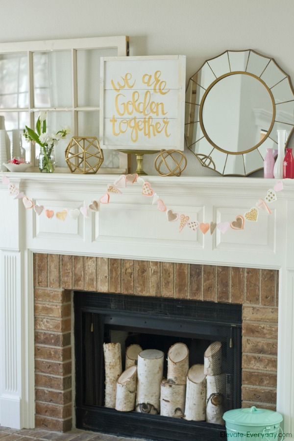 gold and white mantle - Valentine's Day Mantle with Salty Bison & Aidie's Hideaway by Utah lifestyle blogger By Jen Rose