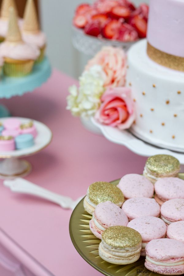glittered macarons - Unicorn Birthday Party by Utah mom blogger By Jen Rose