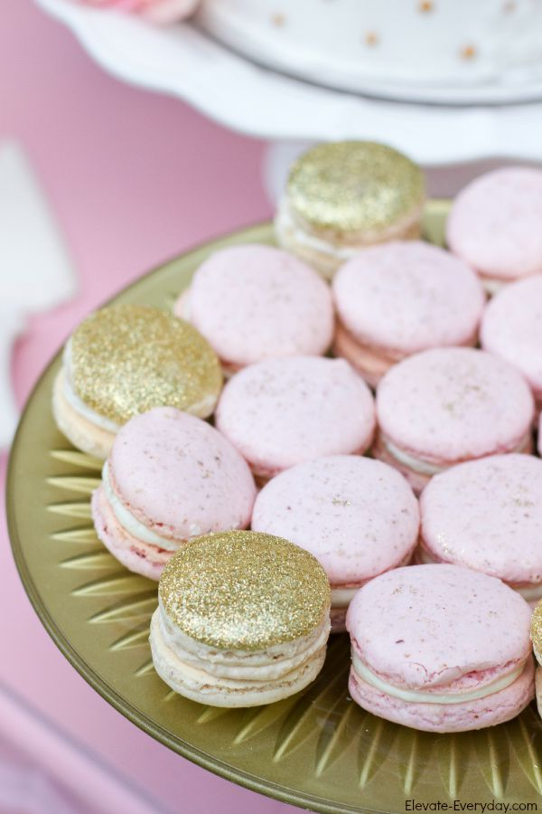 gold and pink macarons - Unicorn Birthday Party by Utah mom blogger By Jen Rose