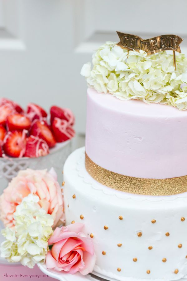 pink and gold cake - Unicorn Birthday Party by Utah mom blogger By Jen Rose