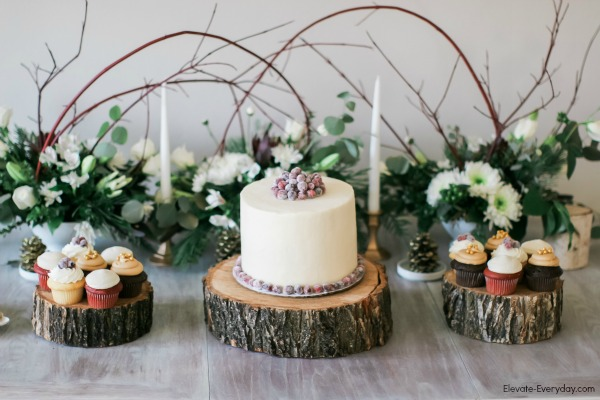 navy cranberry gold winter bridal shower