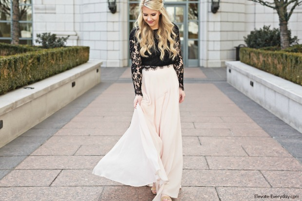 ed937f81c89 Blush Maxi Skirt & Lace Crop Top